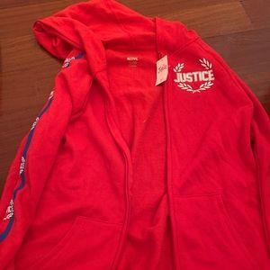 Brand New Justice Red Zip Up Sweatshirt